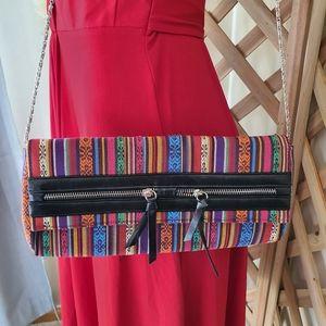 London Rebel Multicolour Woven Clutch Bag